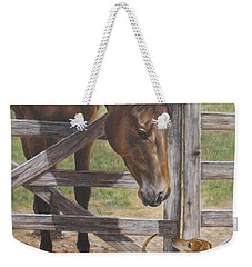 Weekender Tote Bag featuring the painting The Tall And Short Of It by Kim Lockman