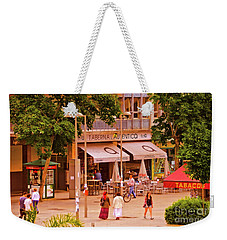 Weekender Tote Bag featuring the photograph The Tavern On The Plaza - Spain by Mary Machare