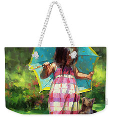 Weekender Tote Bag featuring the painting The Teal Umbrella by Steve Henderson