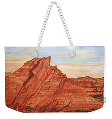 Weekender Tote Bag featuring the painting The Teepees by Ellen Levinson
