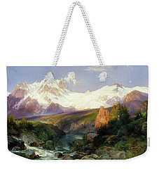 Weekender Tote Bag featuring the painting The Teton Range Painting By Thomas Moran                               by Thomas Moran