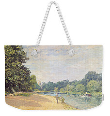 The Thames With Hampton Church Weekender Tote Bag by Alfred Sisley