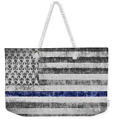 Weekender Tote Bag featuring the digital art The Thin Blue Line American Flag by JC Findley