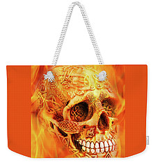 Flaming Skull Weekender Tote Bag