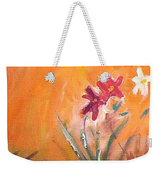 Weekender Tote Bag featuring the painting The Three Daisies by Winsome Gunning
