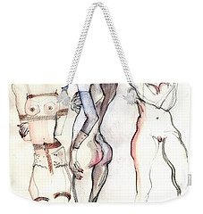 Weekender Tote Bag featuring the painting The Three Graces - Female Nudes by Carolyn Weltman