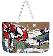 Weekender Tote Bag featuring the painting The Touchdown by John Jr Gholson