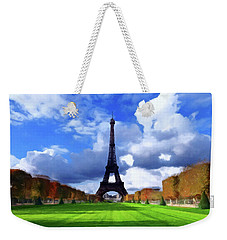 Weekender Tote Bag featuring the painting The Tower Paris by David Dehner