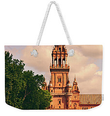Weekender Tote Bag featuring the photograph The Tower - Plaza De Espana by Mary Machare