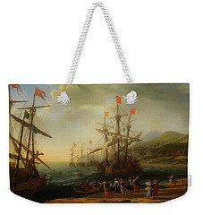 Weekender Tote Bag featuring the painting The Trojan Women Setting Fire To The Fleet by Claude Lorrain