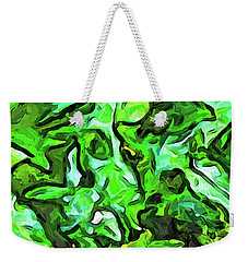 The Tropical Green Leaves With The Wings Weekender Tote Bag