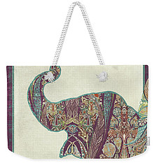 Weekender Tote Bag featuring the painting The Trumpet - Elephant Kashmir Patterned Boho Tribal by Audrey Jeanne Roberts