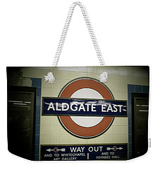 Weekender Tote Bag featuring the photograph The Tube Aldgate East by Christin Brodie