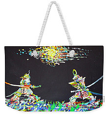 Weekender Tote Bag featuring the painting The Two Samurais by Fabrizio Cassetta