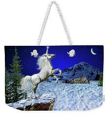 Weekender Tote Bag featuring the digital art The Ultimate Return Of Unicorn  by William Lee