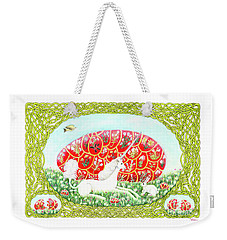 Weekender Tote Bag featuring the painting The Unicorn And The Egg by Lise Winne