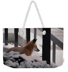 Weekender Tote Bag featuring the digital art The Urban Fox by Ernie Echols