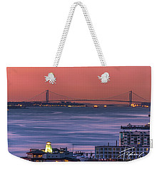 Weekender Tote Bag featuring the photograph The Verrazano Bridge At Sunrise by Francisco Gomez