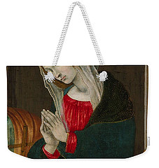 Weekender Tote Bag featuring the painting The Virgin Of The Nativity , Workshop Of Filippino Lippi by Artistic Panda