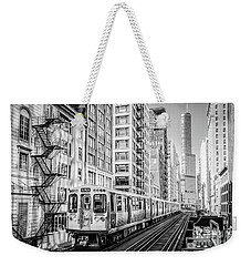 The Wabash L Train In Black And White Weekender Tote Bag