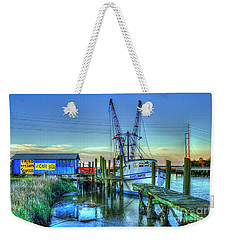Weekender Tote Bag featuring the photograph The Waiting Shrimper Tybee Island Dawn Art by Reid Callaway