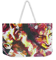 Weekender Tote Bag featuring the painting The Warm Breeze Behind The Sun by Rene Capone