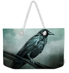 The Watcher Surreal Raven Crow Moon And Clouds Weekender Tote Bag