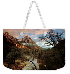 Weekender Tote Bag featuring the photograph The Watchman At Sunset by Daniel Woodrum