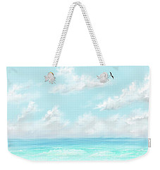 Weekender Tote Bag featuring the digital art The Waves And Bird by Darren Cannell