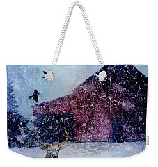 The Way Of Winter Rustic Barn Deer Weekender Tote Bag