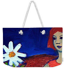 Weekender Tote Bag featuring the painting The White Flower by Winsome Gunning