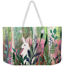 Weekender Tote Bag featuring the painting The White Rabbit by Robin Maria Pedrero