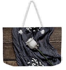 Weekender Tote Bag featuring the photograph The White Rose by Kim Hojnacki