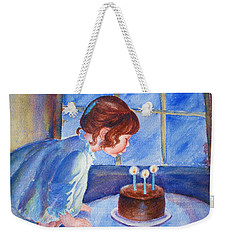 Weekender Tote Bag featuring the painting The Wish by Marilyn Jacobson