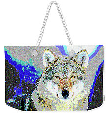 Weekender Tote Bag featuring the mixed media The Wolf by Charles Shoup