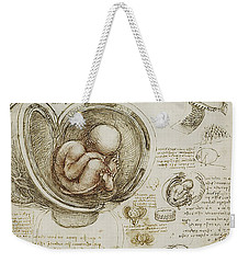 Weekender Tote Bag featuring the painting The Womb And Embreyo  by James Christopher Hill