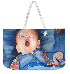 Weekender Tote Bag featuring the painting The Yawn by Marilyn Jacobson