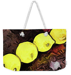 The Yellow Lemons In A Row And The Pink Apple Weekender Tote Bag