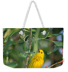 Weekender Tote Bag featuring the photograph The Yellow Warbler by Bill Wakeley