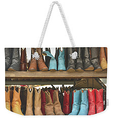 Them Boots, Turquoise And Red Weekender Tote Bag