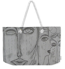 Weekender Tote Bag featuring the drawing There Are Hungry Children by Sharyn Winters
