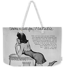 Weekender Tote Bag featuring the digital art there's a Call for...Natalie by Reinvintaged