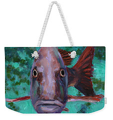 Weekender Tote Bag featuring the painting There's Something Fishy Going On Here by Billie Colson