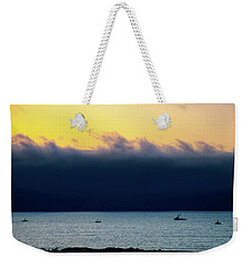 Weekender Tote Bag featuring the photograph Thick Fog Blankets Sunset by Joseph Hollingsworth
