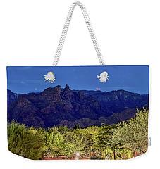 Weekender Tote Bag featuring the photograph Thimble Peak At Night Textured by Dan McManus