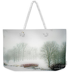 This Small Bridge, Located On A Golf Course, Always Provides A Scenic View. When A December Blizzard Weekender Tote Bag