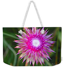 Weekender Tote Bag featuring the photograph Thistle With Personality by Shirley Moravec
