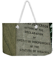 Thomas Jefferson Tombstone Close Up Weekender Tote Bag