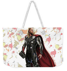 Weekender Tote Bag featuring the mixed media Thor Splash Super Hero Series by Movie Poster Prints