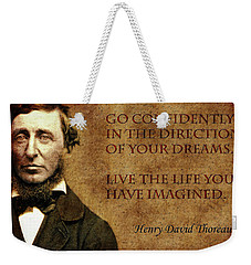 Thoreau Quote 1 Weekender Tote Bag by Andrew Fare